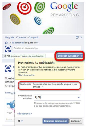 Promocionar publicación en Facebook