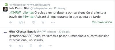 MRW también tiene un canal de atención al cliente vía twitter