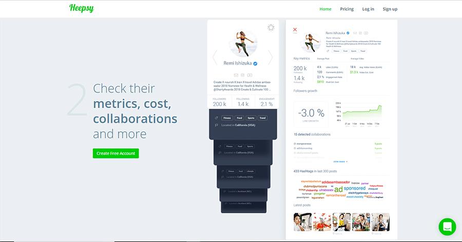 Heepsy es una herramienta para buscar influencers con un alto grado de engagement