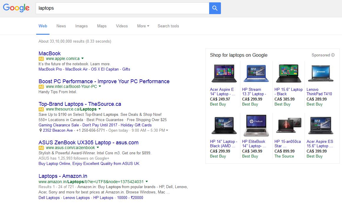 4 anuncios en los resultados de búsqueda de Google