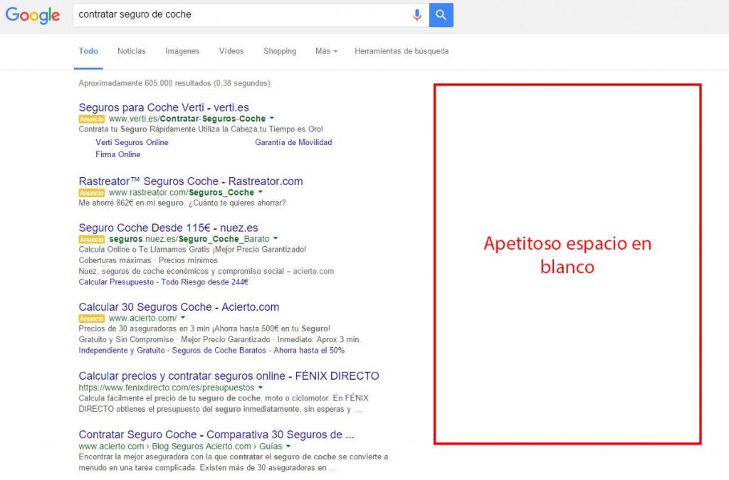 Resultados de Google sin anuncios en la columna derecha