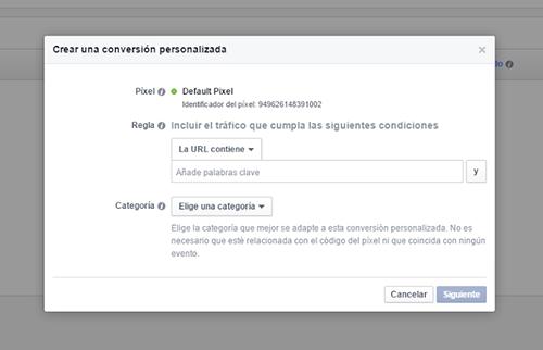 Píxel de Facebook - Crear conversión
