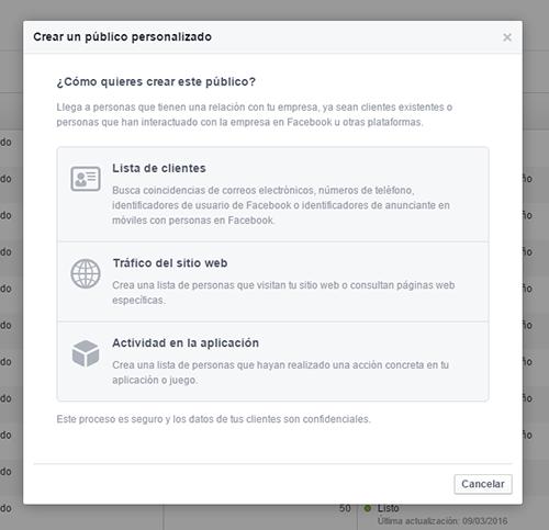 Píxel de Facebook - Crear público