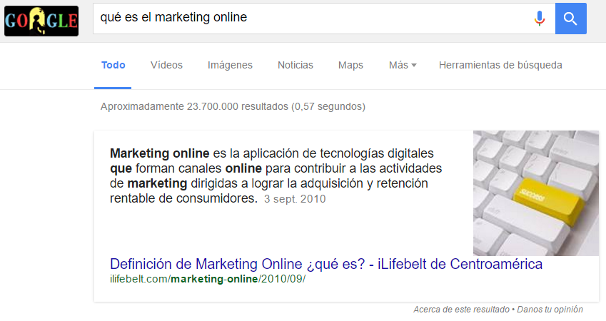 Ejemplo de fragmento destacado en Google - Qué es el marketing online