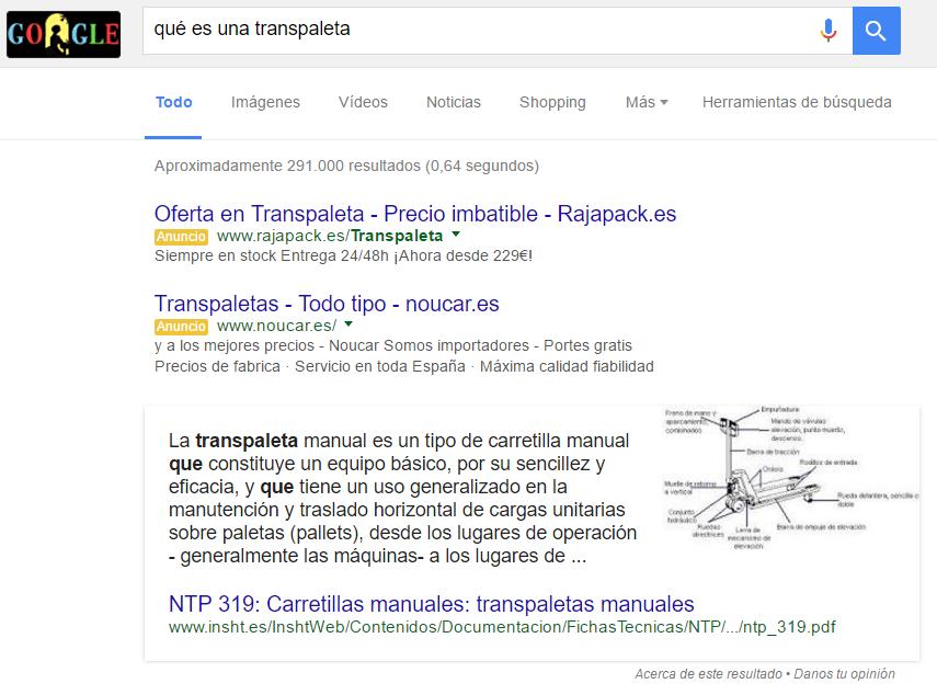 Ejemplo de fragmento destacado en Google - Qué es una transpaleta