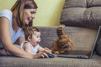 Mujer y bebé consultan su ordenador portátil junto a su gato