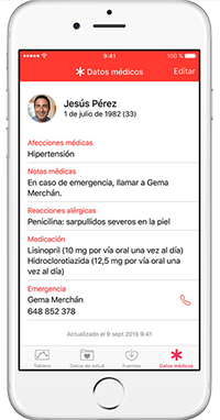 Apple Health - Tarjeta de emergencia
