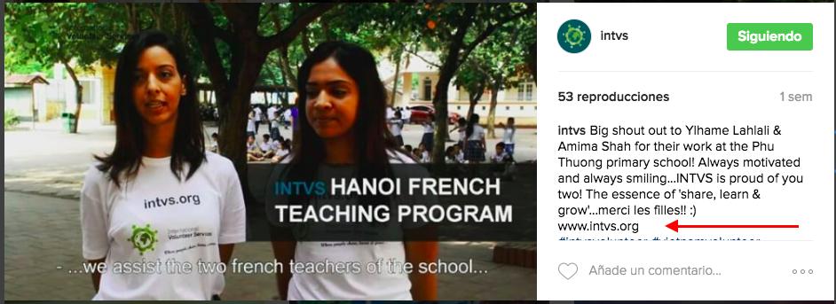 En Instagram, INTVS volunteer services, comparte videos inspiradores para ganar tráfico cualificado a la web y convertirlos en potenciales voluntarios