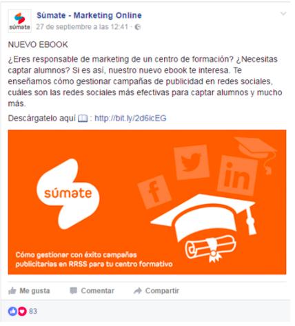Súmate comparte un post promocionado para descargar un ebook
