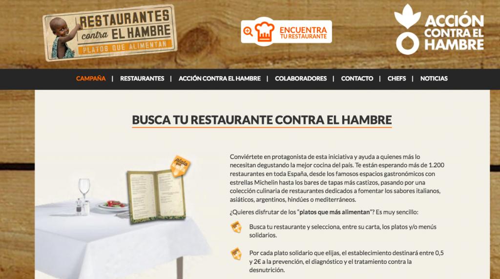 Campaña Restaurantes contra el Hambre de Acción contra el Hambre