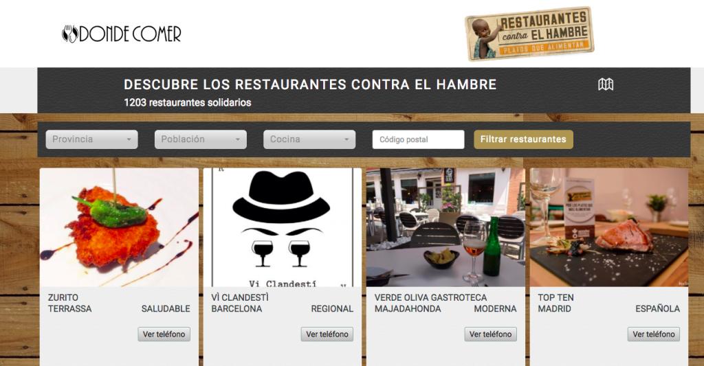 Consulta de restaurantes en la campaña Restaurantes contra el Hambre