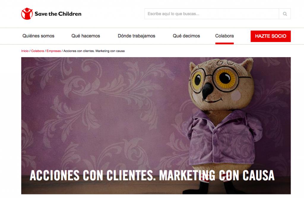 Página de Save the Children para empresas que quieran hacer marketing con causa