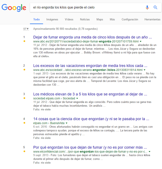 Resultados de la búsqueda 'el río engorda los kilos que pierde el cielo' en Google
