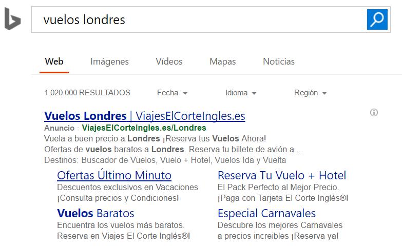 Ejemplo de anuncio en Bing