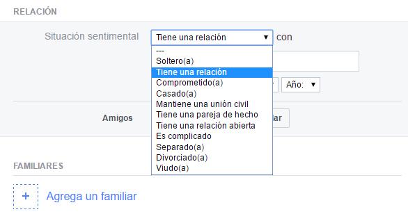 Opciones de Facebook para indicar nuestra situación sentimental