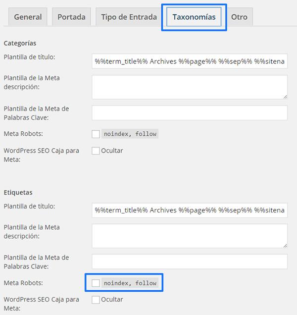 """""""noindex"""" en las etiquetas de WordPress"""