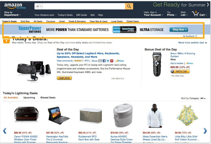 Publicidad en Amazon: Daily Deals Site Stripe