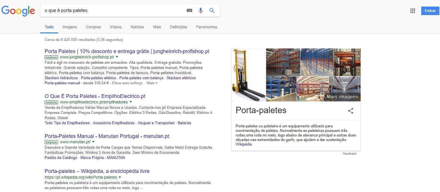 """Exemplo de um snippet em destaque quando se pesquisa por """"o que é um porta paletes"""""""