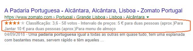 Exemplo de dados estruturados num resultado de pesquisa por Padaria Portuguesa