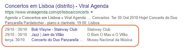 Exemplo de dados estruturados num resultado de pesquisa por concertos em Lisboa