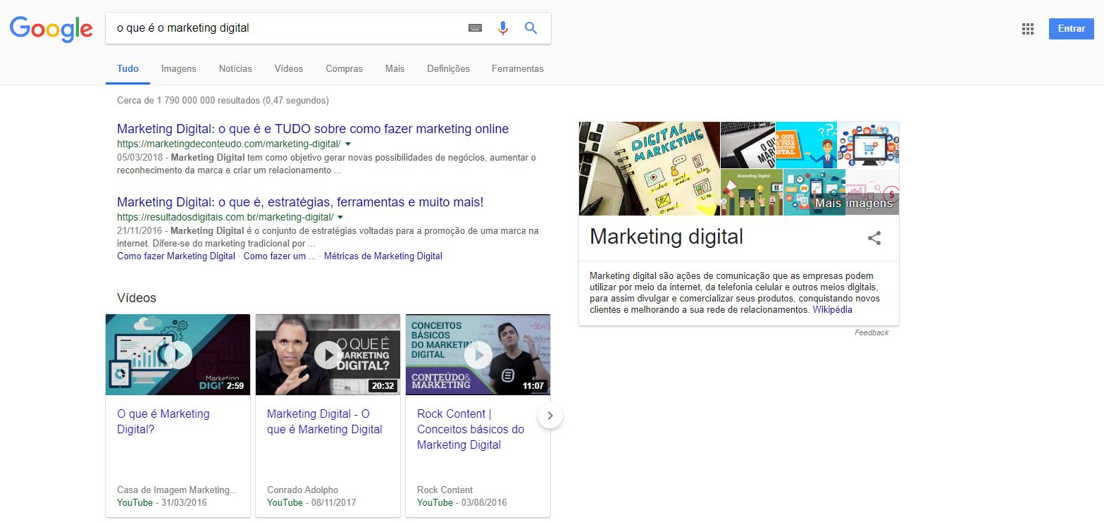 """Exemplo de um snippet em destaque quando se pesquisa por """"o que é o marketing digital"""""""