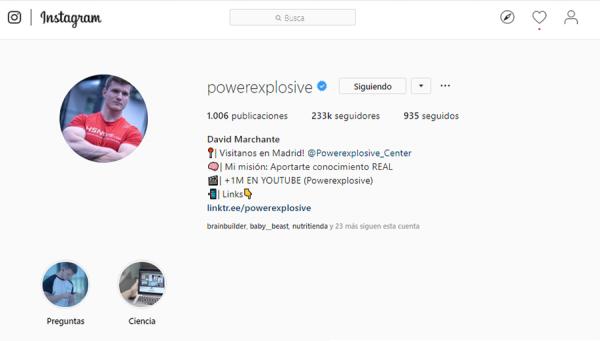ejemplo de un perfil de instagram de un influencer