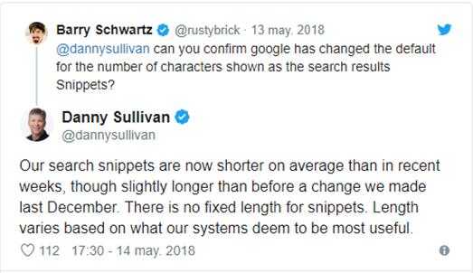 Tweet donde se confirma la reducciónde las metadescripciones