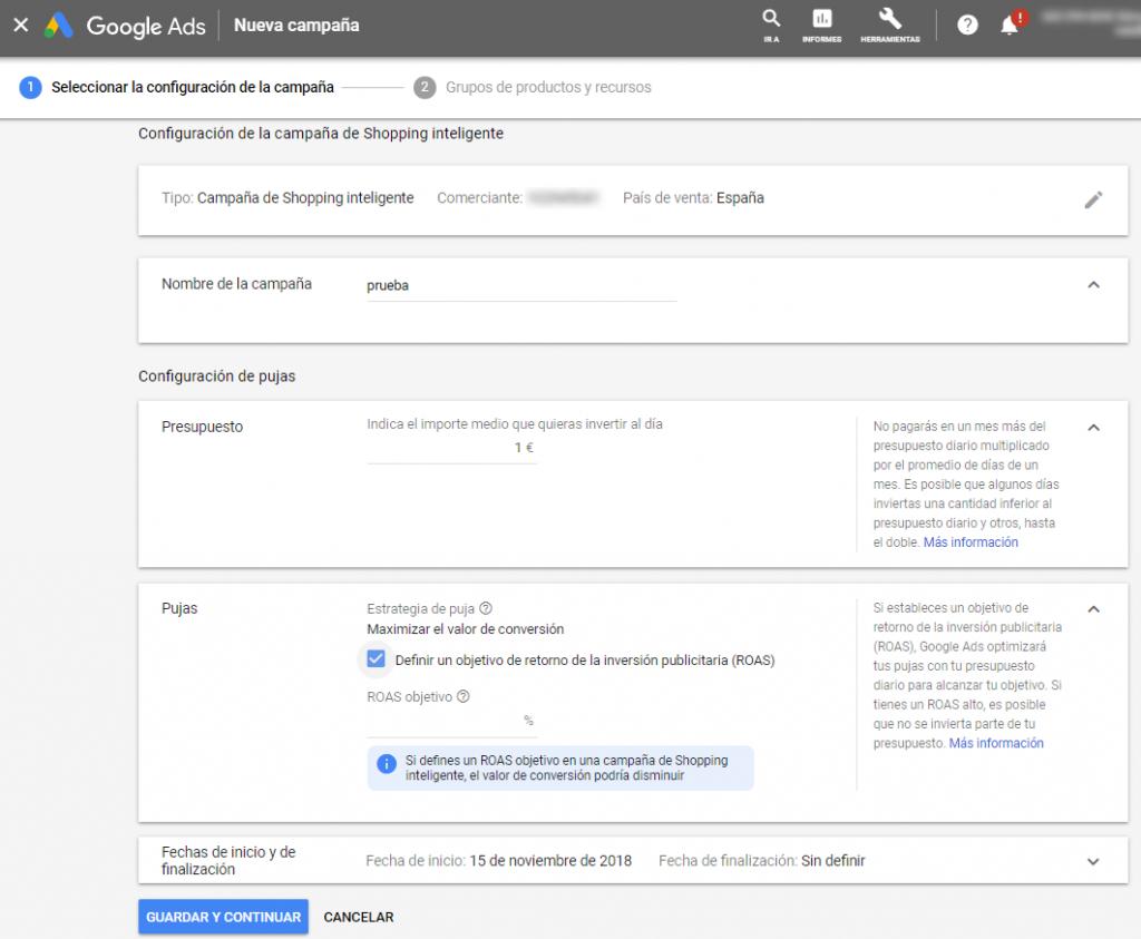 configurar presupuesto ubicacion puja fechas google shopping dinamico inteligente