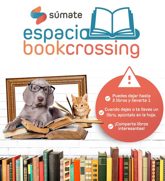Creatividad de Diseño Gráfico para el Espacio de Bookcrossing en Súmate Marketing Online