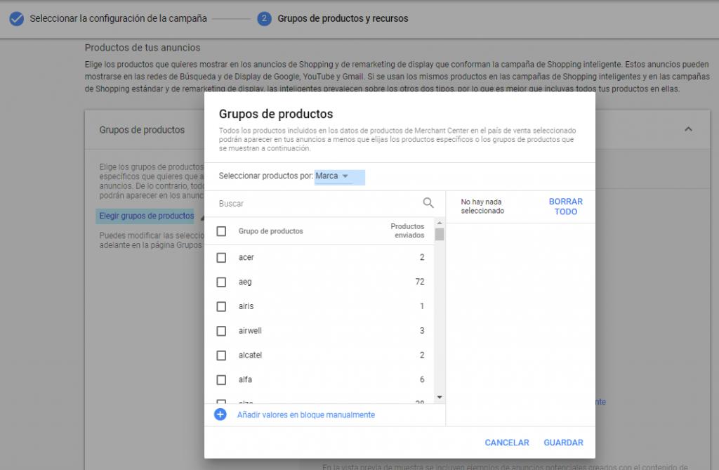 Grupos de producto en Google Shopping Inteligente Dinámico